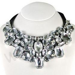White Jewel Gem Bib Statement Necklace