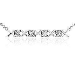 14K White Gold Mini XO Diamond Bar Necklace