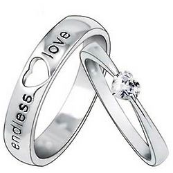 Engravable Heart Wedding Couple Rings for Two