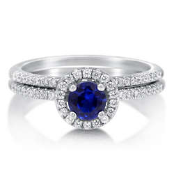 Sapphire Cubic Zirconia Sterling Silver Bridal Ring Set