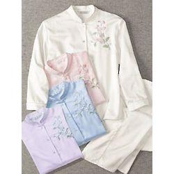 Brushed-Back Satin Pajamas