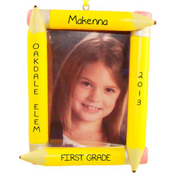 Personalized School Photo Yellow Pencil Frame Ornament