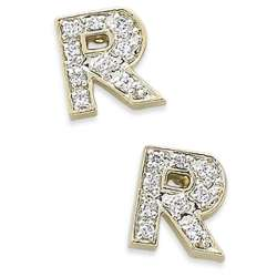 Cubic Zirconia CZ V Initial Earrings