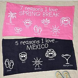 Personalized Reasons I Love Vacation Beach Towel