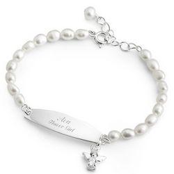 Girl's Freshwater Pearl Angel ID Bracelet