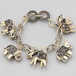 Antique Gold Tone Elephant Charm Braclet