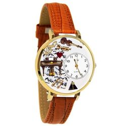 Large Music Piano Watch in Gold
