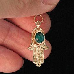 Gold Hamsa Pendant with Stone