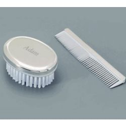 Engravable Silver Baby Boy's Comb & Brush Set