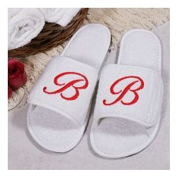 Embroidered Initial Slippers