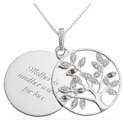 Birthstone Family Tree and Engravable Disk Necklace
