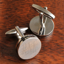Personalized Round Cufflinks with Black Pin Stripe