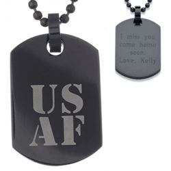 USAF Stainless Steel Engraved Air Force Military Dog Tag Necklace