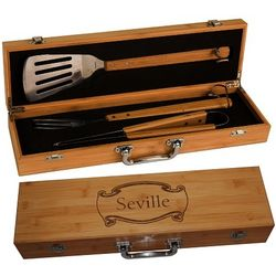 Personalized Bamboo BBQ Grill Set