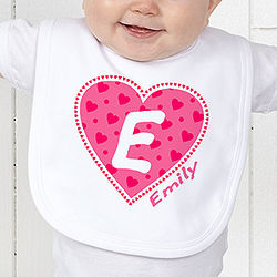 Personalized All My Heart Baby Bib