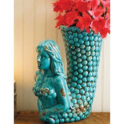 Ceramic Mermaid Vase with Rustic Antique Finish