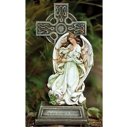 Celtic Cross with Angel Garden Figure