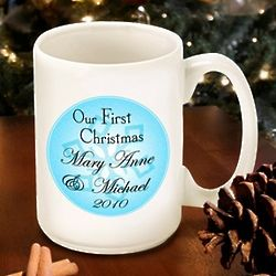 Our First Christmas Blue Snow Mug