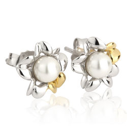 Sterling Silver Irish Primrose Pearl Stud Earrings