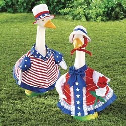Sammy Goose and Betsy Goose Garden Sculpture U.S. Flag Outfits