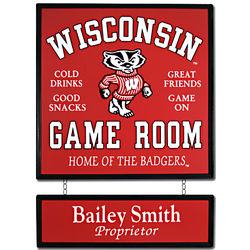 Personalized University of Wisconsin Game Room Sign