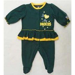Newborn's Green Bay Packers Skirted Sleep-n-Play Bodysuit