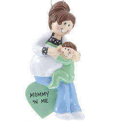 Personalized Pregnant Mom with Child Christmas Ornament