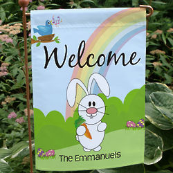 Happy Easter Rainbow Bunny Garden Flag