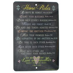 Love One Another Bible Verse Home Rules Tin Sign