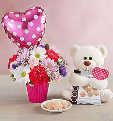 Lotsa Love Sweetheart Bouquet with Teddy Bear and Cookies