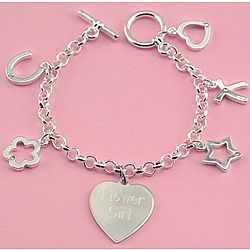 Engraved 5 Charm and Heart Silver Plated Bracelet