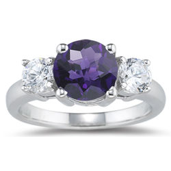 Diamond and Amethyst Three Stone Ring in 18K White Gold