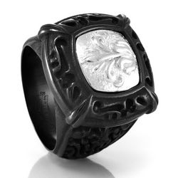 Lace Black Titanium and Sterling Silver Signet Ring
