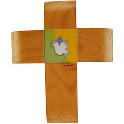 Wooden Confirmation Cross with Handpainted Dove
