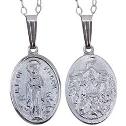 Sterling Silver Our Lady of Knock Medal Necklace
