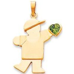 14k Yellow Gold Boy May Green Birthstone Pendant