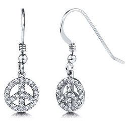Cubic Zirconia Sterling Silver Peace Dangle Earrings
