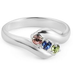Sterling Silver Mother's Three Birthstone Family Ring