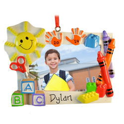 Personalized Preschool Blocks and Crayons Photo Frame Ornament