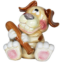 Puppy with a Bone Ceramic Bank