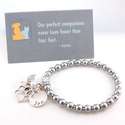 Angel Pet Memorial Personalized Beaded Bracelet with Card