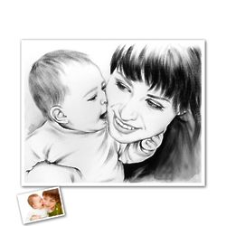 Hand Painted 8x10 Ink Rendering Art from Photo