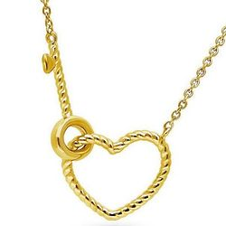 Gold Flashed Open Heart Key Woven Pendant
