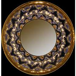 Handmade Plate Mirror with Enamels and 24K Gold Acents