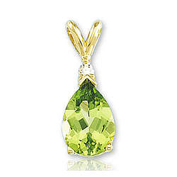 14k Yellow Gold Prong Pear Peridot Diamond Pendant