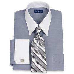 Cotton Pinpoint Oxford White Collar Dress Shirt