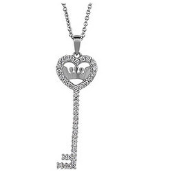 Sterling Silver CZ Accent Heart Shaped Key Pendant