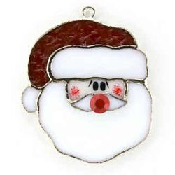 Santa Stained Glass Ornament