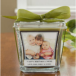 Personalized Photo Papaya and Bamboo Candle