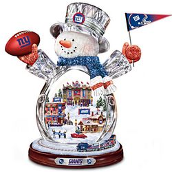 New York Giants Crystal Snowman with Moving Train